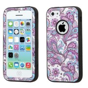 Insten Verge European Flowers Hard Hybrid Silicone Cover Case For Apple iPhone 5C - Purple/White