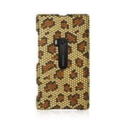 Insten For Nokia Lumia 920 Full Diamond Case Golden Leopard