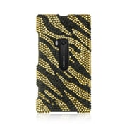 Insten For Nokia Lumia 920 Full Diamond Case Golden Zebra