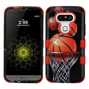 Insten Tuff Basketball Hoop Hard Hybrid Rubberized Silicone Cover Case For LG G5 - Black/Brown