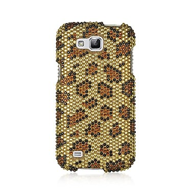 Insten Leopard Full Diamond Hard Clip On Back Rear Cover Case For Samsung Galaxy Premier - Brown/Black