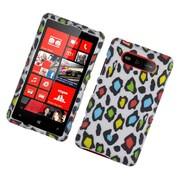 Insten Leopard Hard Rubber Coated Case For Nokia Lumia 820 - Multi-Color