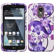 Insten Purple Hibiscus Flower/Purple TUFF Hybrid Phone Protective Cover Case [Military-Grade Certified] For LG Stylo 3