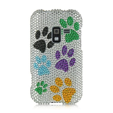 Insten Full Diamond Bling Hard Back Cover Case For Samsung Galaxy Attain 4G - Silver Multi Dog Paws