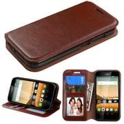 Insten Flip Leather Fabric Case w/stand/card holder For Huawei Union - Brown