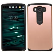 Insten Dual Layer Hybrid Shockproof Hard PC/Silicone Case Cover For LG V10 - Rose Gold/Black