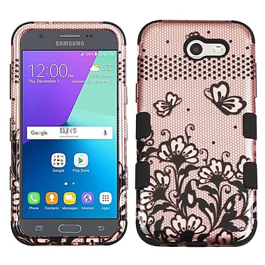 Insten Tuff Lace Flowers Hard Dual Layer Rubber Coated Case For Samsung Galaxy J3 (2017) - Rose Gold/Black