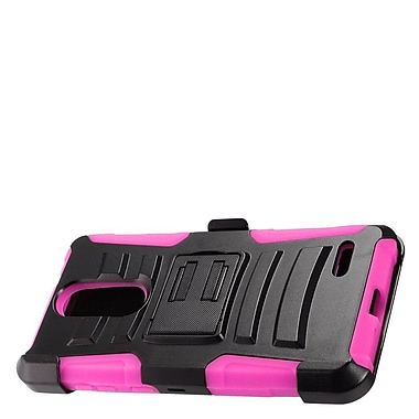 Insten Hybrid Hard Silicone Amor Shockproof Stand Holster Case Cover For ZTE Grand X 4 - Black/Hot Pink