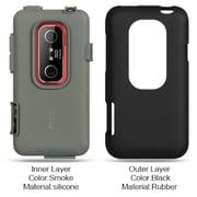 Insten Hard Hybrid Silicone Cover Case For HTC EVO 3D - Black/Dark Gray