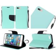 Insten Book-Style Leather Fabric Case Lanyard w/stand For Apple iPhone 7 - Blue