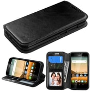 Insten Folio Leather Fabric Cover Case w/stand/card slot For Huawei Union - Black