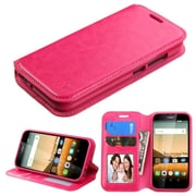 Insten Book-Style Leather Fabric Cover Case w/stand/card slot For Huawei Union - Hot Pink