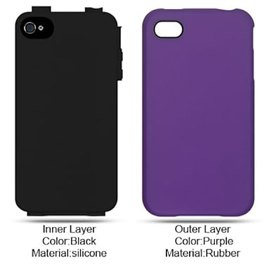 Insten Hard Hybrid Rubber Silicone Case For Apple iPhone 4 - Purple