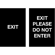 """Queue Solutions Exit/Exit - Please Do Not Enter Temporary Traffic Control Sign, 7"""" x 11"""", Black/White (SD711-22)"""