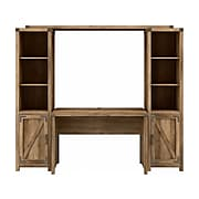 """kathy ireland® Home by Bush Furniture Cottage Grove 48""""W Writing Desk with Bookcases, Reclaimed Pine (CGR010RCP)"""