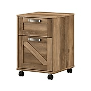 """kathy ireland® Home by Bush Furniture 2-Drawer Vertical File Cabinet, Mobile, Letter/Legal, Reclaimed Pine, 17"""""""