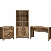 """kathy ireland® Home by Bush Furniture Cottage Grove 48"""" Writing Desk with Cabinet and Bookcase, Reclaimed Pine (CGR002RCP)"""