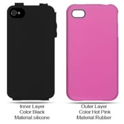 Insten Hard Dual Layer Rubberized Silicone Case For Apple iPhone 4 - Hot Pink