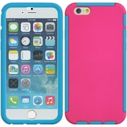 Insten Full Protection Trim TPU Rubber Skin Gel Case For Apple iPhone 6 / 6s - Hot Pink/Blue