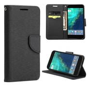 Insten Folio Leather Fabric Case Lanyard w/stand/card slot For Google Pixel - Black