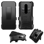Insten Hard Dual Layer Plastic Silicone Cover Case w/Holster For Motorola Moto X (3rd Gen) - Black