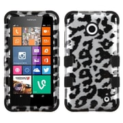Insten Tuff Leopard Hard Hybrid Shockproof Rubber Silicone Cover Case For Nokia Lumia 630/635 - Silver/Black