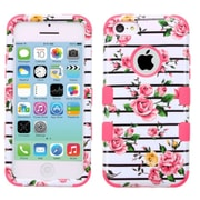 Insten Tuff Fresh Roses Hard Dual Layer Rubber Coated Silicone Case For Apple iPhone 5C - Pink/White