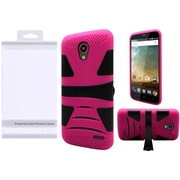 Insten U Kickstand Hybrid Hard PC/TPU Case For ZTE Avid Plus / Chapel / Maven 2 / Prestige / Sonata 3 - Black/Hot Pink