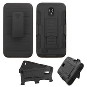 Insten Car Armor Hard Hybrid Plastic Silicone Cover Case w/Holster For Alcatel One Touch Conquest - Black