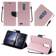 Insten Carbon Fiber Book-Style Leather Fabric Cover Case Lanyard w/stand For ZTE Zmax Pro - Rose Gold/Black