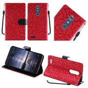 Insten Roses Folio Leather Fabric Cover Case Lanyard w/stand For ZTE Zmax Pro - Red/Black