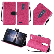 Insten Roses Book-Style Leather Fabric Case Lanyard w/stand For ZTE Zmax Pro - Hot Pink/Black