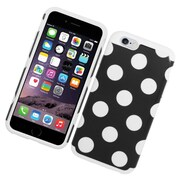 Insten Polka Dots Dual Layer Case For Apple iPhone 6/6s - Black/White