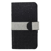 Insten Leather Wallet Diamante Cover Case with Card slot For Samsung Galaxy S7 Edge - Black/Silver