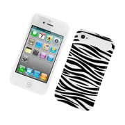 Insten Two-Tone/NightGlow Zebra Jelly Hybrid Hard Silicone Case Cover For Apple iPhone 4 / 4S - Black/White