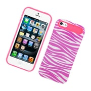 Insten Two-Tone/NightGlow Zebra Jelly Hybrid Hard Silicone Case Cover For Apple iPhone 5 / 5S - Hot Pink/White