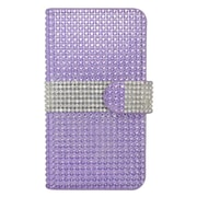 Insten Leather Wallet Diamante Case with Card slot For Samsung Galaxy S7 Edge - Purple/Silver