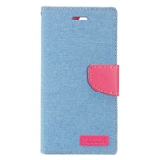 Insten Flip Leather Fabric Cover Stand Card Case w/Photo Display For Apple iPhone 7 4.7 inch - Blue/Pink