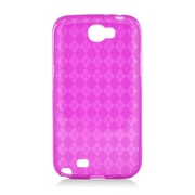 Insten Checker Rubber Clear Cover Case For Samsung Galaxy Note II - Hot Pink