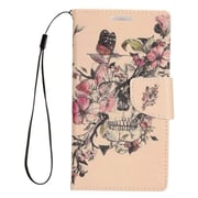 "Insten Flowers Folio Leather Fabric Cover Stand Card Case Lanyard w/Photo Display For Apple iPhone 7 Plus (5.5"") - Pink"