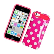 Insten Two-Tone/NightGlow Polka Dots Jelly Hybrid Hard Silicone Case Cover For Apple iPhone 5C - Hot Pink