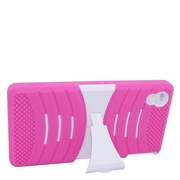 Insten Wave Symbiosis Soft Hybrid Rubber Hard Case w/stand For Sony Xperia Z3v - Hot Pink/White