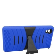 Insten Wave Symbiosis Soft Dual Layer Rubber Hard Case w/stand For Sony Xperia Z3v - Blue/Black