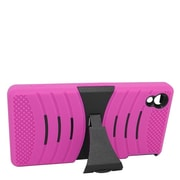 Insten Wave Symbiosis Soft Hybrid Rubber Hard Case w/stand For Sony Xperia Z3v - Hot Pink/Black