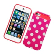 Insten Two-Tone/NightGlow Polka Dots Jelly Hybrid Hard Silicone Case Cover For Apple iPhone 5 / 5S - Hot Pink