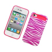 Insten Two-Tone/NightGlow Zebra Jelly Hybrid Hard Silicone Case Cover For Apple iPhone 4 / 4S - Hot Pink/White