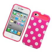 Insten Two-Tone/NightGlow Polka Dots Jelly Hybrid Hard Silicone Case Cover For Apple iPhone 4 / 4S - Hot Pink