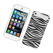 Insten Two-Tone/NightGlow Zebra Jelly Hybrid Hard Silicone Case Cover For Apple iPhone 5 / 5S - Black/White