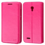 Insten Book-Style Leather Fabric Cover Case w/stand/card holder/Photo Display For Alcatel One Touch Conquest - Hot Pink