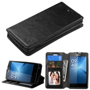 Insten Book-Style Leather Fabric Cover Case w/stand/card slot/Photo Display For Coolpad Rogue - Black